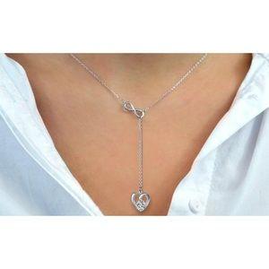 Infinity Heart Swarovski Drop Necklace